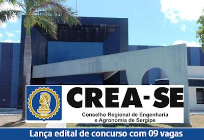Inscrições concurso Crea-SE Edital