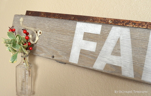Make a rustic farmhouse sign from an old wooden box lid and Old Sign Stencils