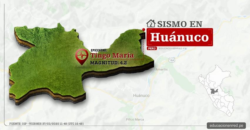 Temblor en Huánuco de Magnitud 4.2 (Hoy Viernes 27 Marzo 2020) Sismo - Epicentro - Tingo María - Leoncio Prado - IGP - www.igp.gob.pe