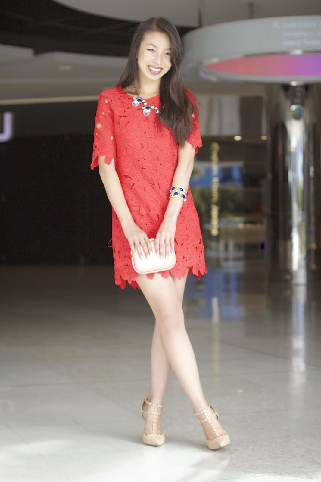 Red Crochet Lace Dress