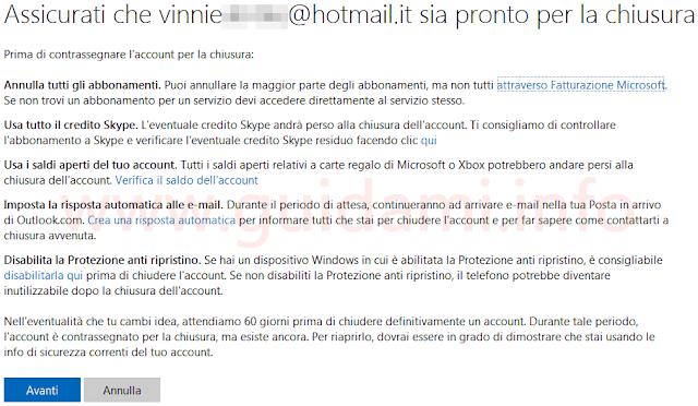 Eliminare account Microsoft assicurati utente pronto per la chiusura
