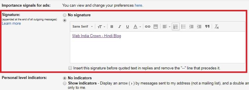 signature विकल्प पसंद करने की आवश्यक है.