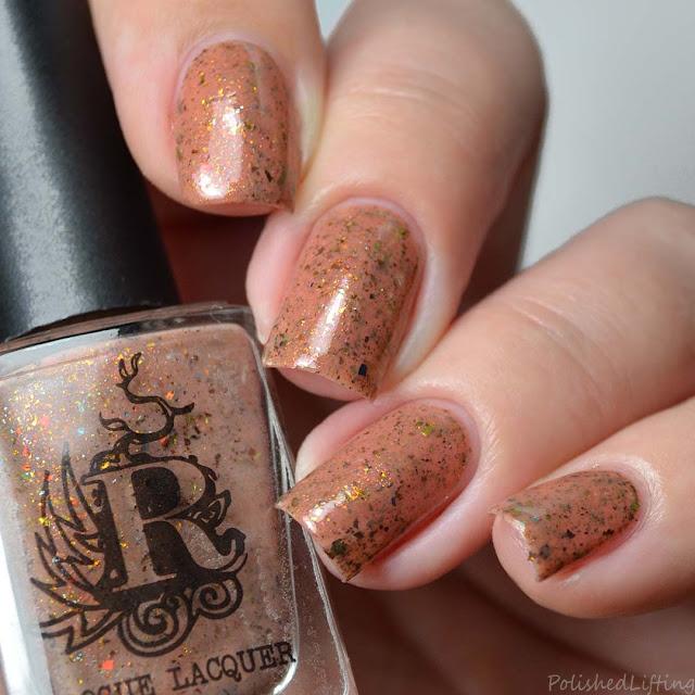 brown nail polish with flakies