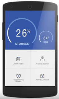 Aplikasi Clean master berjalan dalam Smartphone android