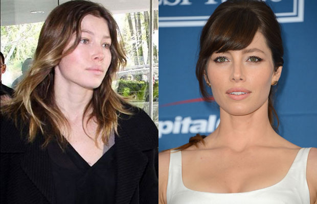 Jessica Biel with n without makeup
