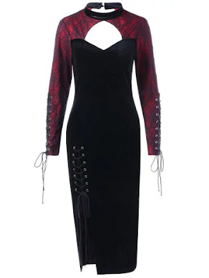 Halloween Spider Lace Inset Velvet Slit Dress