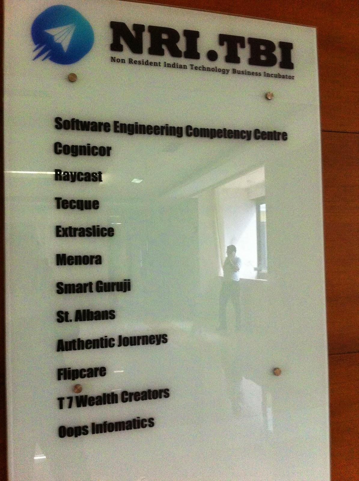Signboard listing companies in NRITBI, Infopark, Kochi