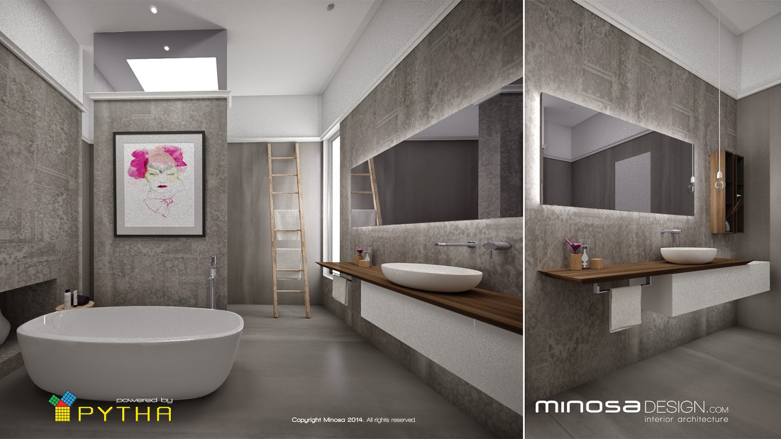 Minosa 3d rendering for 3d bathroom decor