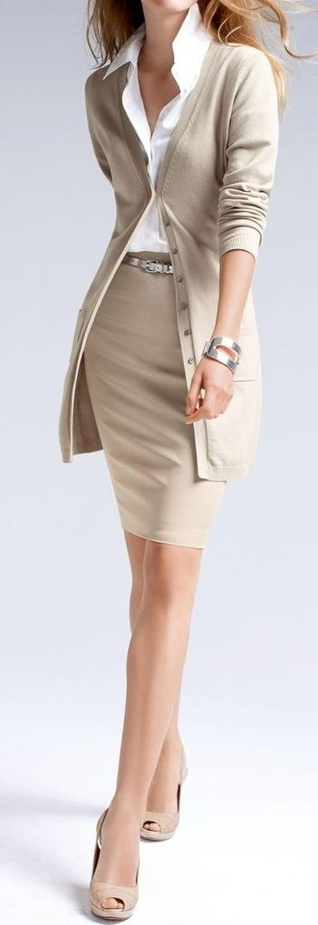 nude palettes business outfit : shirt + cardigan + pencil skirt