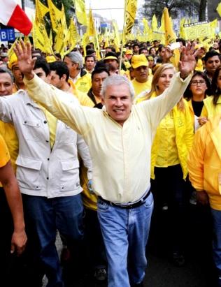 Foto de Luis Castañeda Lossio alzando las manos