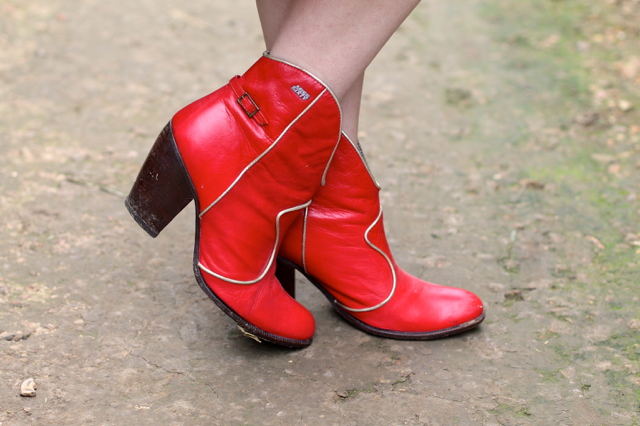 Red ankle cowboy boots