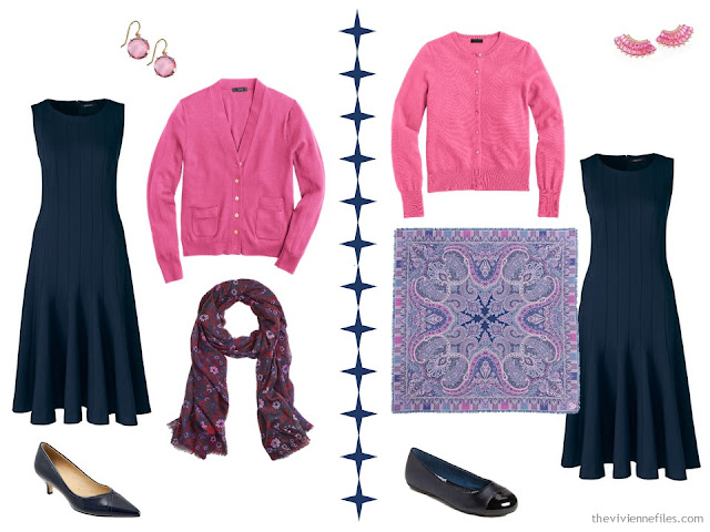 2 ways to wear a navy dress with hot pink accessories