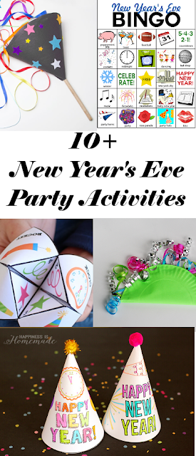 Great list of simple and quick New Year's Eve ideas for families.  Including crafts, games and simple activities the whole family will enjoy.