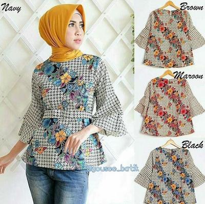 Desain cantik baju atasan batik remaja casual hijab