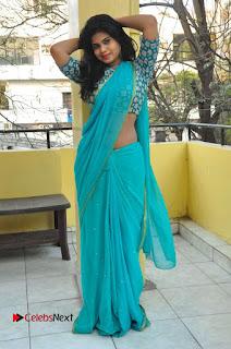Telugu Actress Alekhya Stills in Green Saree at Swachh Hyderabad Cricket Press Meet  0080.JPG