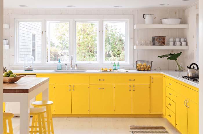 pastel sarı mutfak dolabı modelleri