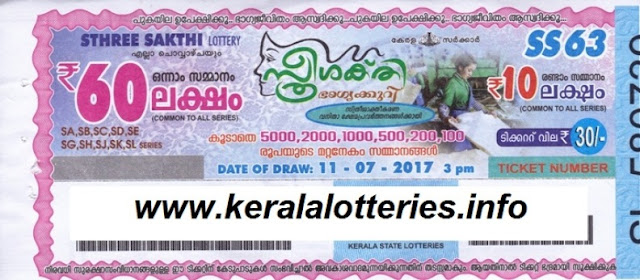 Kerala lottery result Sthree Sakthi SS-63 on July11, 2017