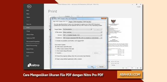 Cara Mengecilkan Ukuran File PDF dengan Nitro Pro PDF