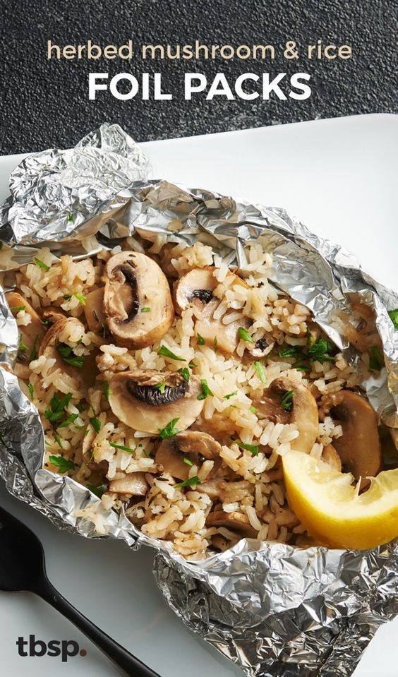 Herbed Mushroom and Rice Foil Packs