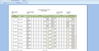 Cetak daftar nilai aplikasi raport