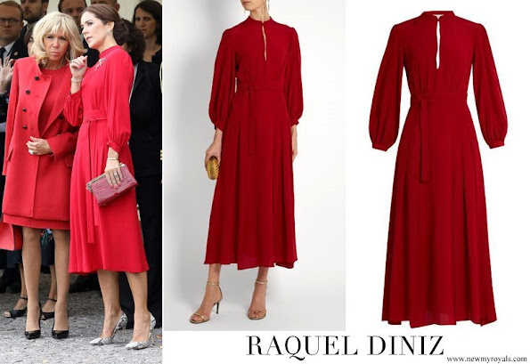 Crown Princess Mary is wearing a Raquel Diniz dress. Crown Princess Mette-Marit wore the same dress in 2017