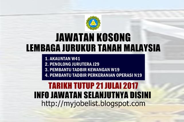 Jawatan Kosong di Lembaga Juruukur Tanah Malaysia Julai 2017
