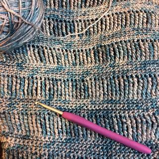 Work in progress shot using a silk merino blend yarn