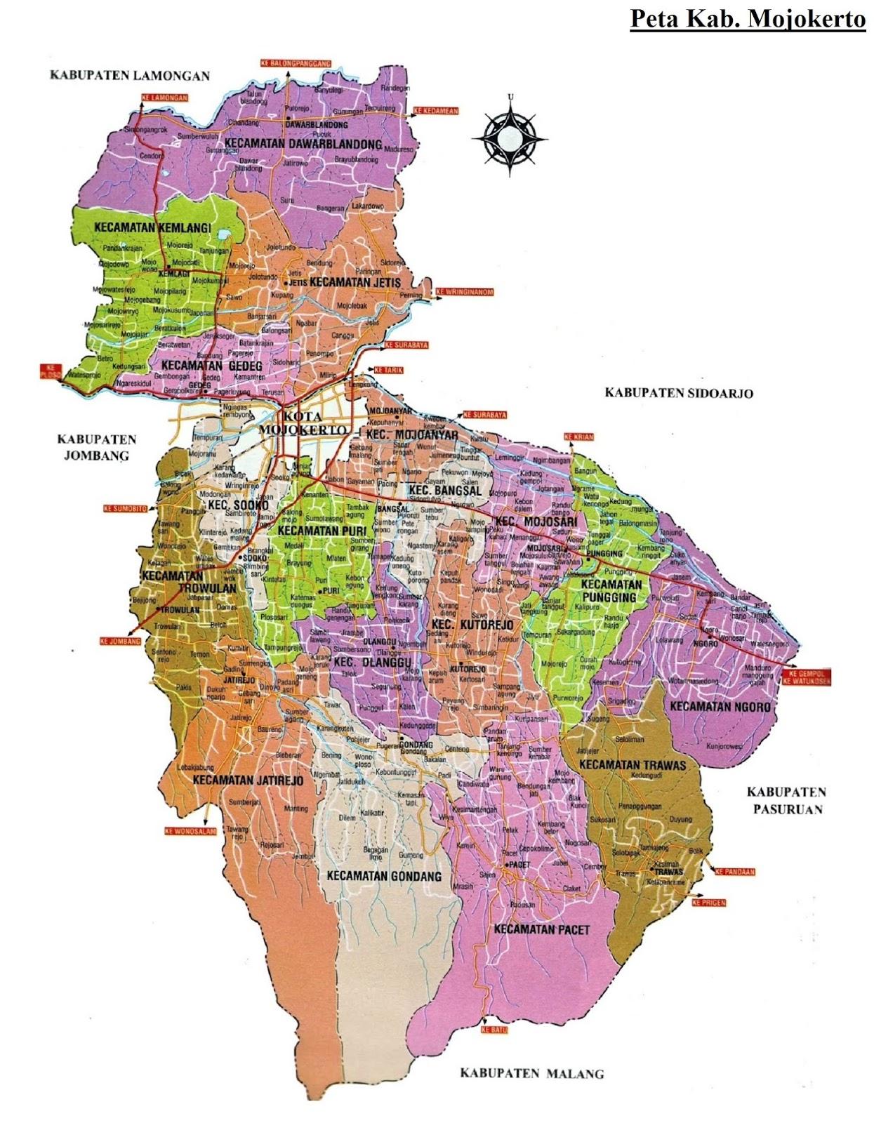 Peta Kabupaten Mojokerto