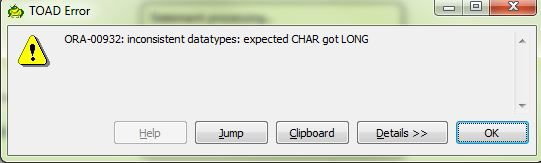 Oracle developer: Searching a text in long datatype column
