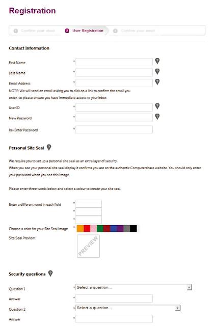 ユーザー情報の登録画面