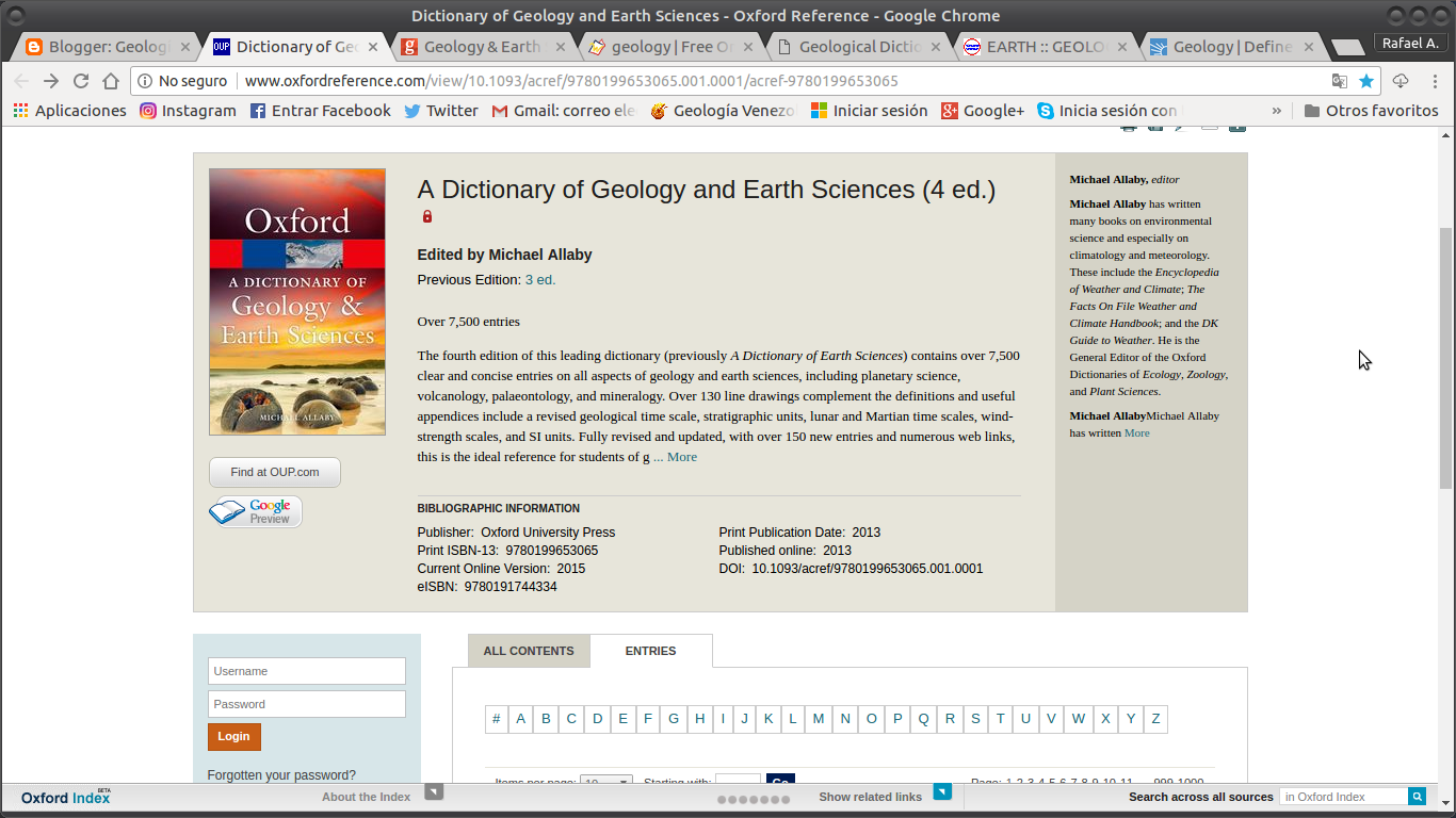 oxford dictionary of geology and earth sciences pdf