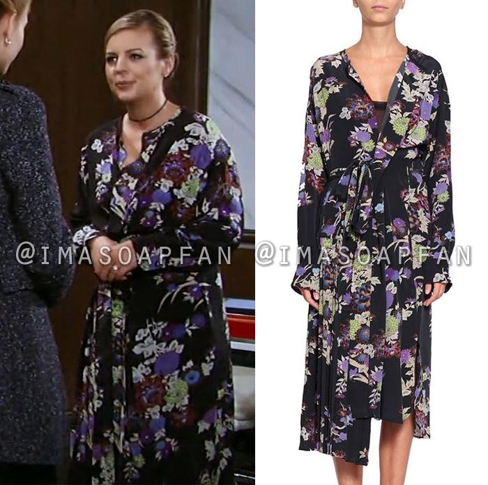 Maxie Jones, Kirsten Storms, Black and Purple Floral Wrap Dress, General Hospital, GH