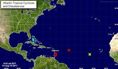 La tormenta tropical Harvey continúa su avance por el este del Caribe