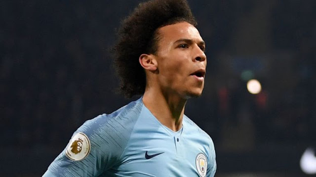 Leroy Sane celebrates Manchester City 2 - 1 Liverpool