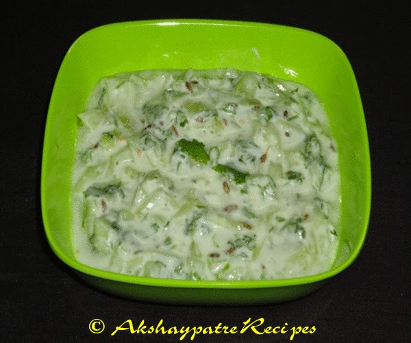 serve the cucumber raita