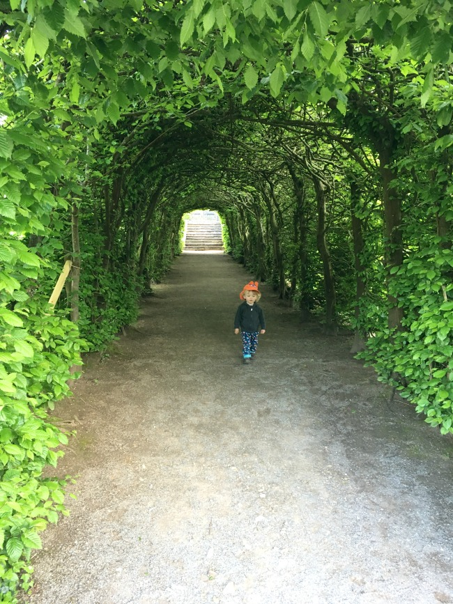 toddler-in-tunnel-made-of-trees-St-Fagans-Castle-and-gardens