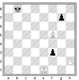 Estudio artístico de ajedrez compuesto por O. Pervakov (1º Premio, Campeonato de Moscú 1989)