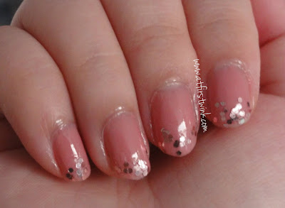 Sasatinnie nail polish FCCHO004 warm pink with Etude House Lucid Darling Fantastic Nails 05 Dazzling pink on tips