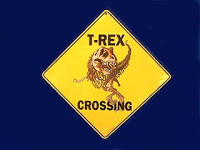 t rex crossing sign dinosaur