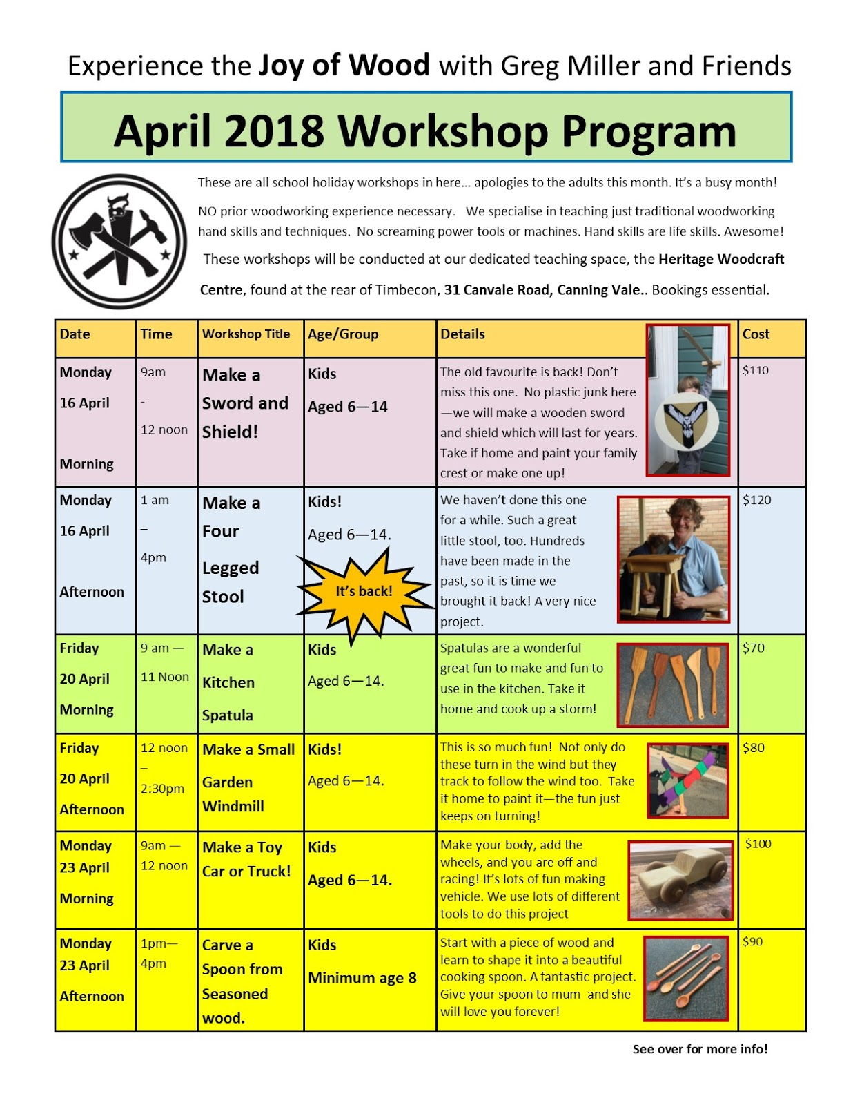 The Joy of Wood: ****** Upcoming Woodworking Workshops
