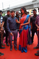 Puja Hegde looks stunning in Red saree at launch of Anutex shopping mall ~ Celebrities Galleries 120.JPG