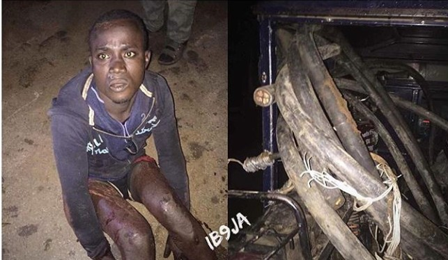 Transformer vandal caught after cutting numerous armoured cables, this morning, in Ilorin, Kwara State