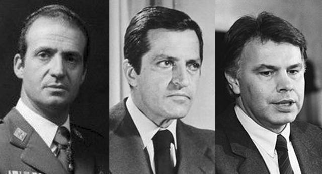 Juan Carlos, Adolfo Suárez y Felipe González