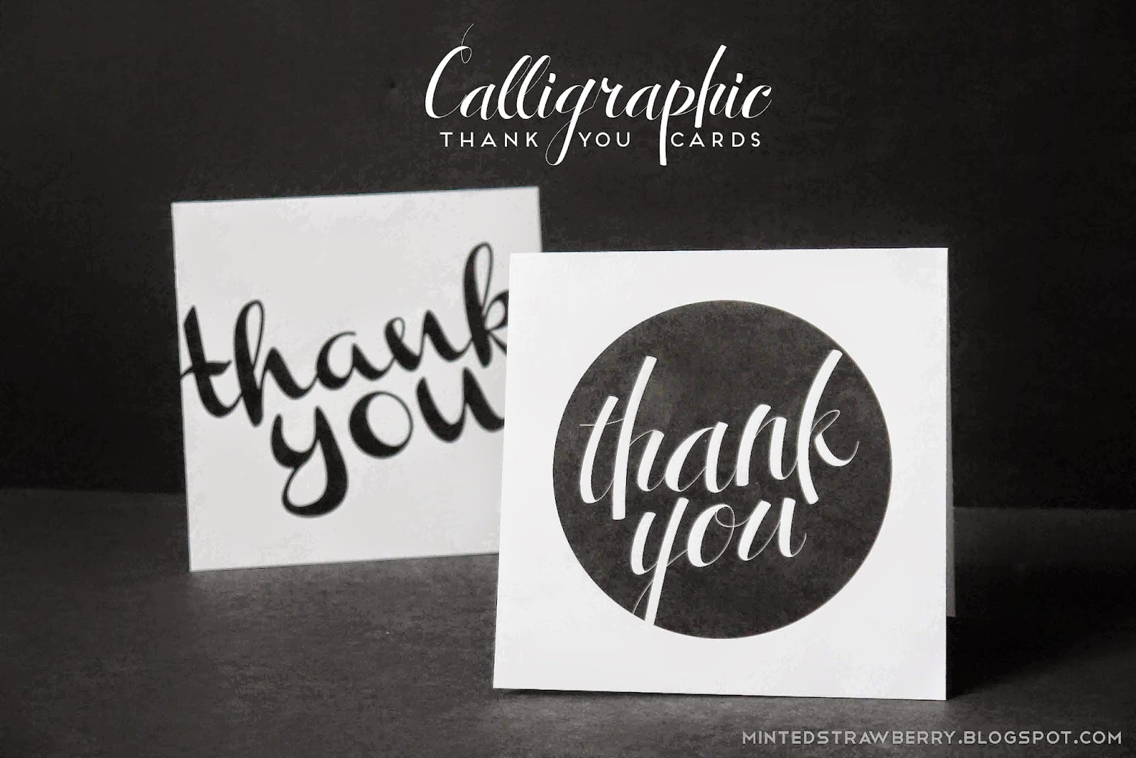free printable: calligraphic thank you cards - minted strawberry