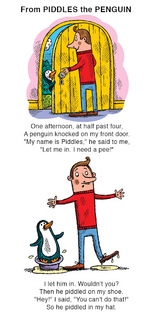 Illustrated extracts from a funny book about an incontinent penguin