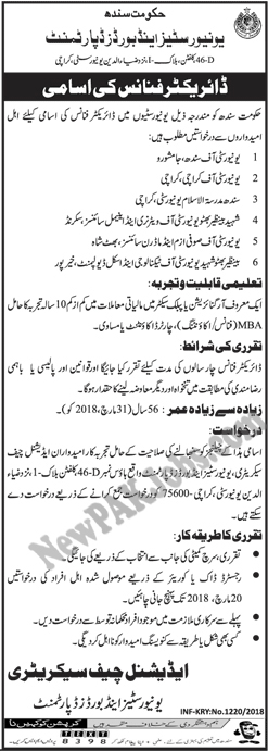 Director Finance Jobs in Universities and Boards Department Sindh 2018