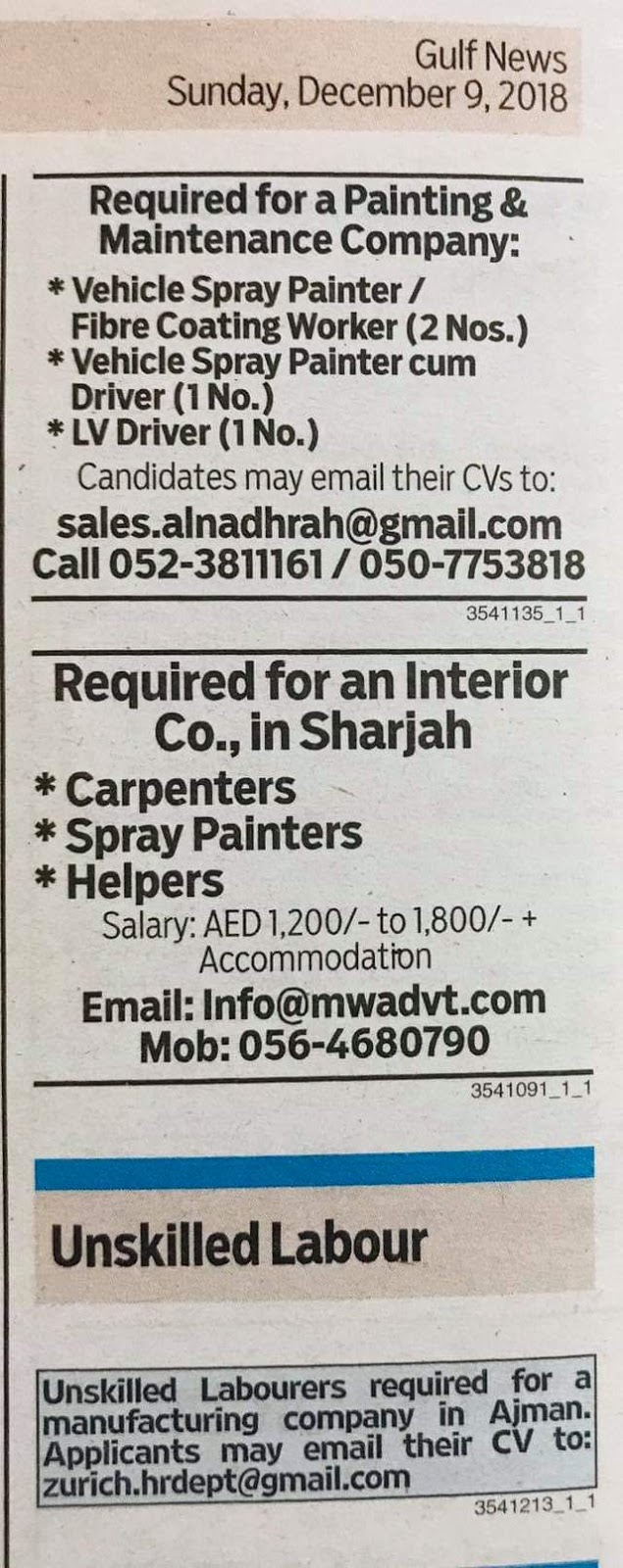 Required for Painting & Maintanance Company UAE JOBS Local