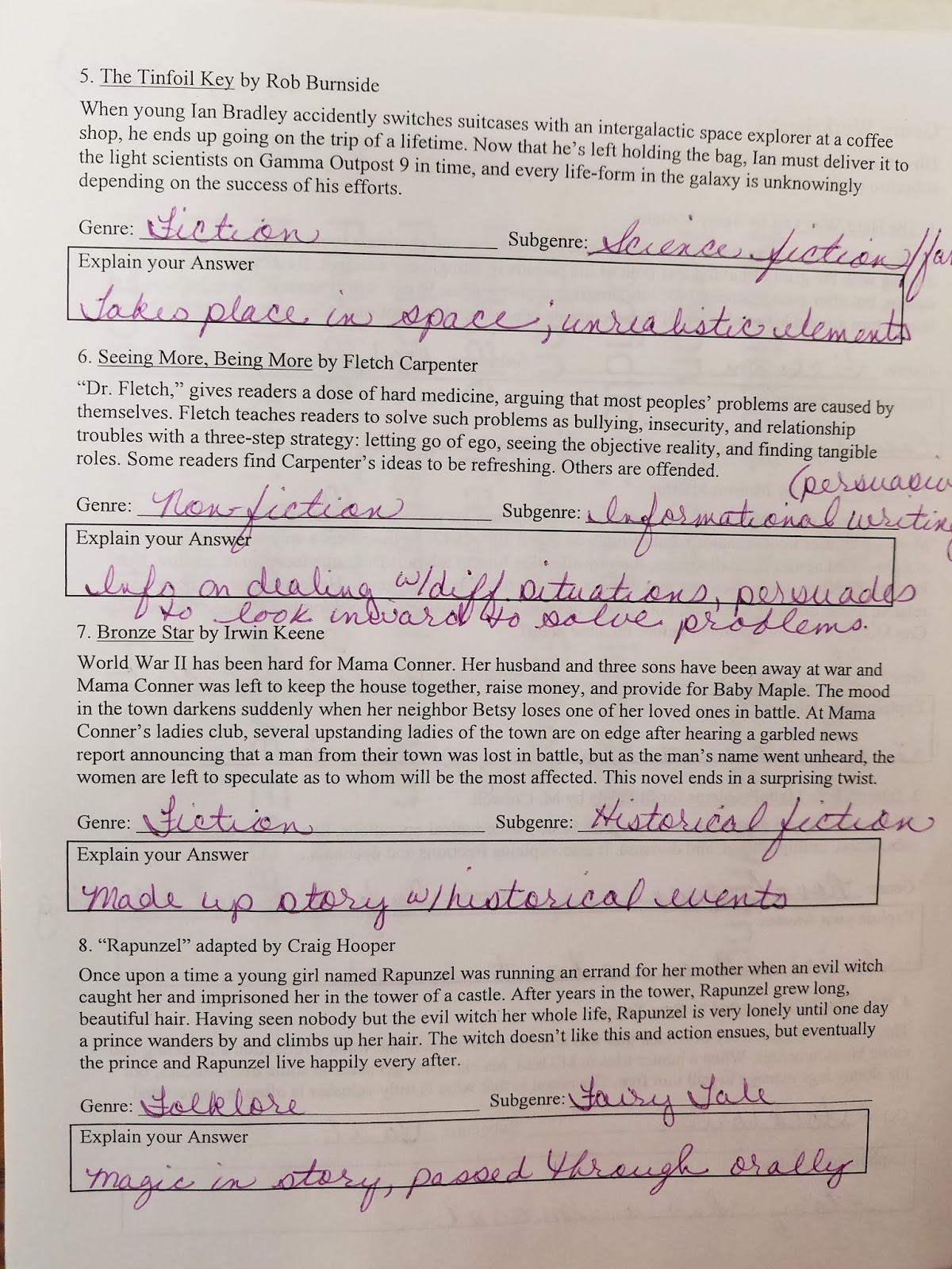 Coffey Talk Genre And Subgenre Worksheet 1