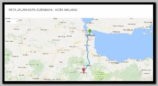 Jarak antara Kota Surabaya ke Kota Malang
