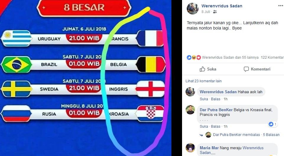 Aneh! 8 Besar Piala Dunia Rusia 2018 Jalur Kanan Pulkam